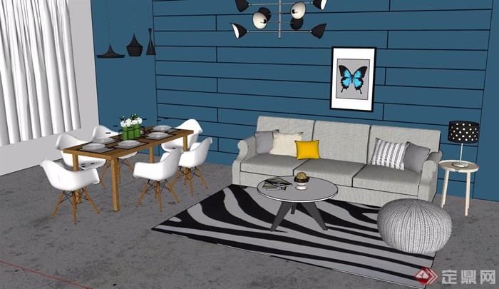 現代住宅室內客餐廳裝飾設計su模型
