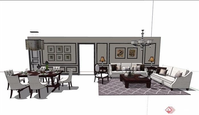 現代住宅室內裝飾客餐廳家具設計su模型