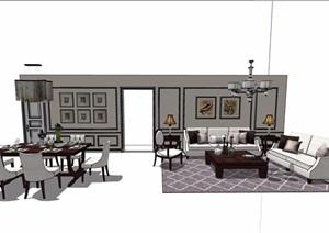 现代住宅室内装饰客餐厅家具设计SU(草图大师)模型