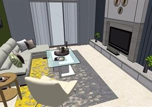 现代住宅室内客厅餐厅装饰设计SU(草图大师)模型