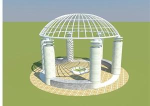 园林景观详细节点亭子SU(草图大师)模型及效果图施工图