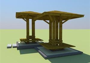 园林景观详细节点木质亭子SU(草图大师)模型及效果图施工图