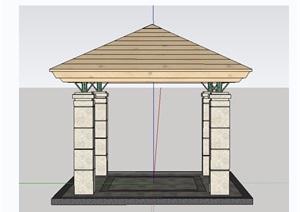 园林景观详细节点亭子SU(草图大师)模型及施工图