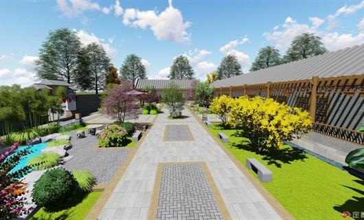 中式四合院庭院景观设计su模型