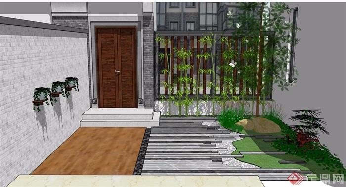 中式风格北侧后院素材设计su模型