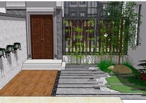 中式风格北侧后院素材设计SU(草图大师)模型