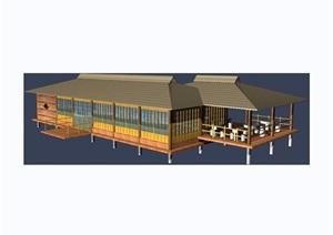 现代中式风格详细的餐饮建筑素材设计3d模型及效果图