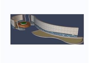 园林景观观景墙素材设计3d模型及效果图