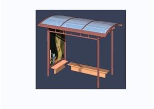 公交车遮雨棚素材设计3d模型及效果图