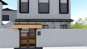民宿禅意庭院景观设计su模型