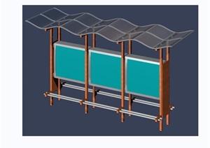 公交车遮雨棚设计3d模型及效果图