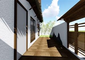 民宿禅意庭院景观设计SU(草图大师)模型