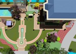 別墅庭院花園景觀設計su模型
