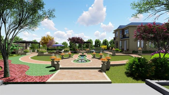 别墅庭院花园景观设计su模型
