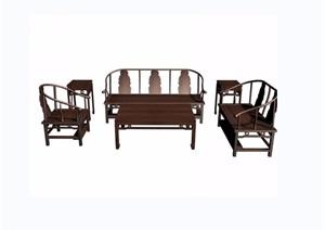 寿字八宝纹六件套桌椅组合素材3d模型及效果图