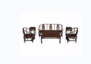古典中式寿字八宝纹六件套桌椅组合设计3d模型