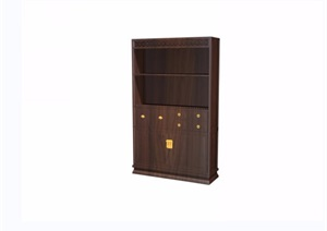 中式山水人物图木质柜格设计3d模型及效果图