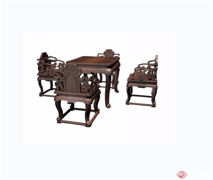魚水紋方桌椅五件套設計su模型