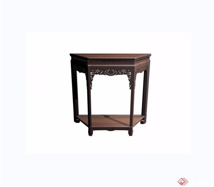 西番蓮紋梯形桌素材設計3d模型及效果圖