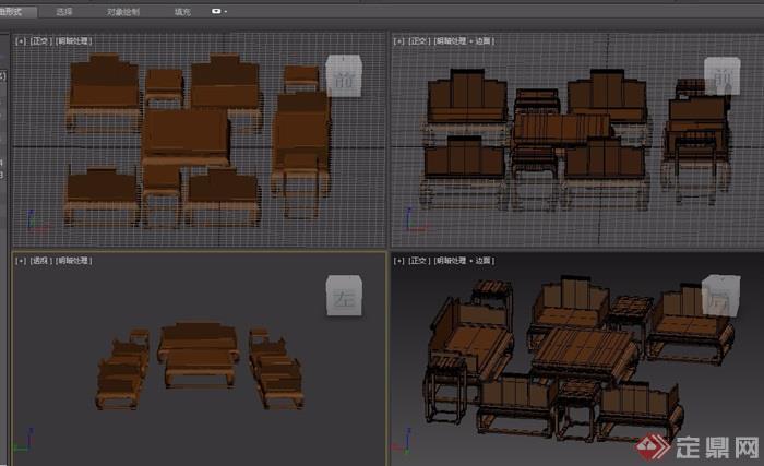 木質云龍紋十件套桌椅組合素材設計3d模型
