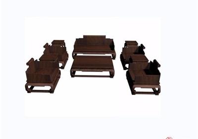中式详细的云龙纹十件套桌椅素材设计3d模型及效果图