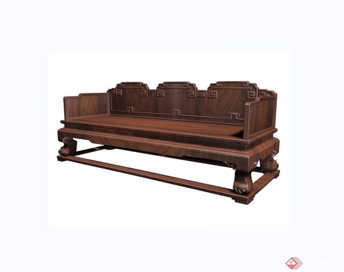 云龙纹三人椅素材设计3d模型