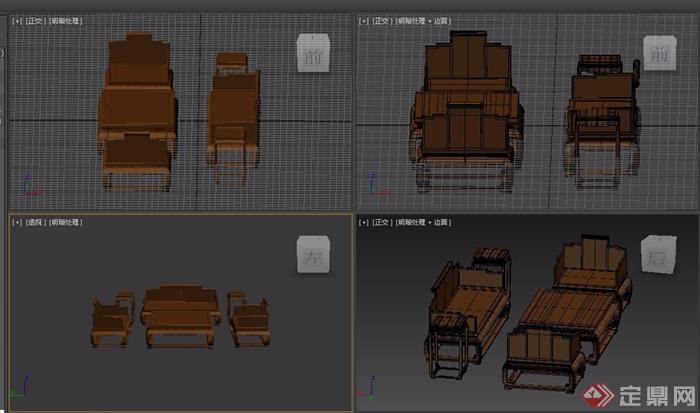 云龍紋六件套木質桌椅素材設計3d模型