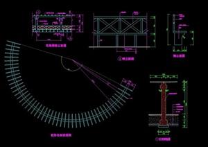 弧形经典花架详细设计cad施工图