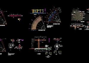 现代景观弧形花架详细设计cad施工图