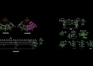 详细的精致弧形花架设计cad施工图