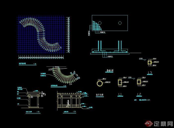 园林景观看法架规划cad施工图对设计建筑设计长廊的市场图片