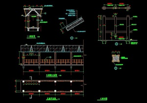 园林景观长廊设计cad施工图