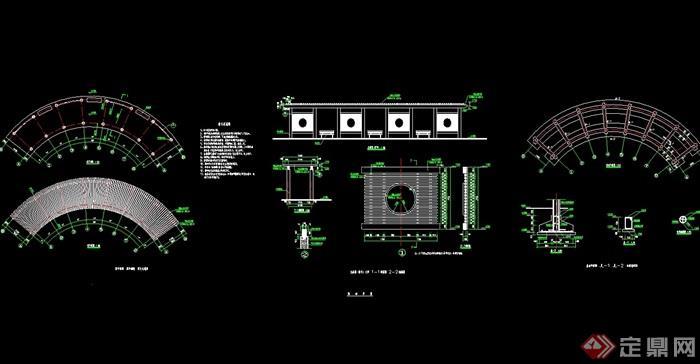 现代园林景观长廊架设计cad施工图