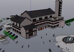 某中式风格详细的多层商业楼设计SU(草图大师)模型