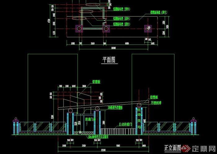 详细园林景观大门机械应用cad施工图c设计的中素材设计在图片