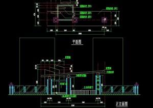 详细园林景观大门素材设计cad施工图