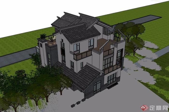 中式详细的小独栋别墅建筑设计su模型