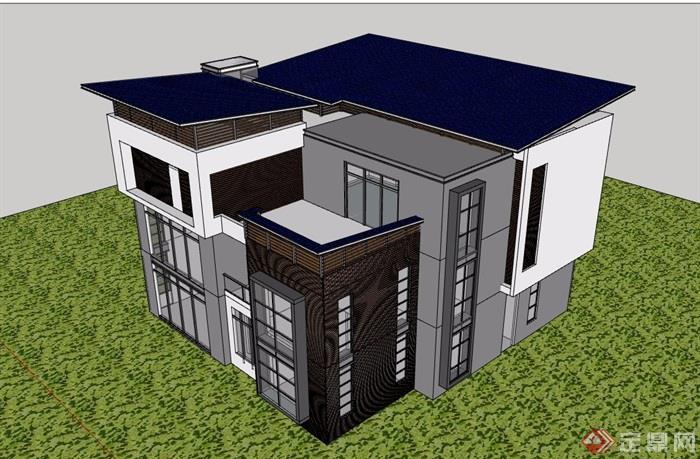 现代风格住宅三层别墅建筑设计su模型