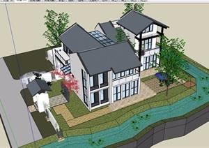 中式风格住宅别墅多层设计SU(草图大师)模型