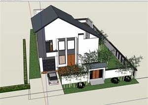 中式住宅多层别墅设计su模型