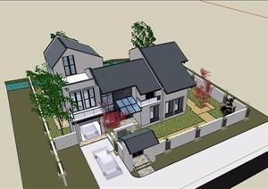 中式独栋详细的多层住宅别墅SU(草图大师)模型