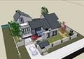 中式独栋详细的多层住宅别墅su模型