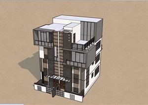 双户型别墅多层建筑设计SU(草图大师)模型