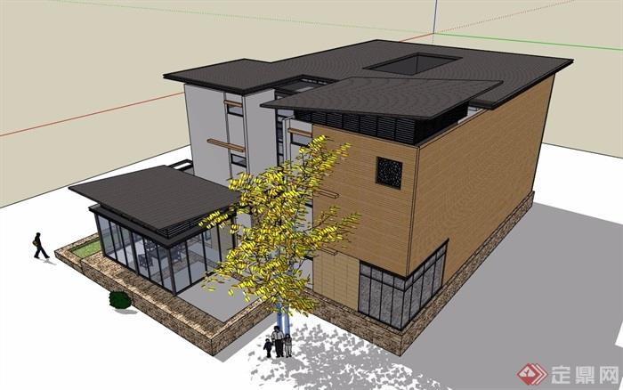 三联排详细完整别墅设计su模型
