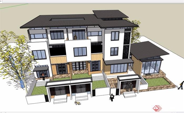 三联排详细完整别墅设计su模型图片