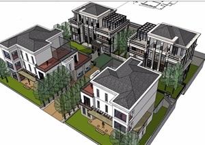 某小区别墅组团建筑设计SU(草图大师)模型