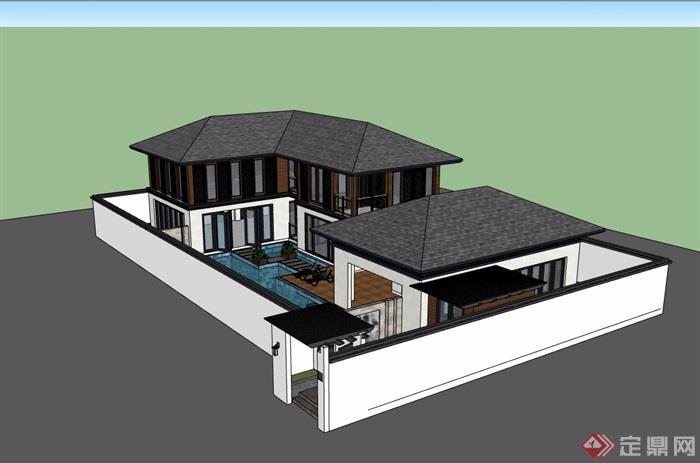 中式两层详细的私人住宅别墅设计su模型