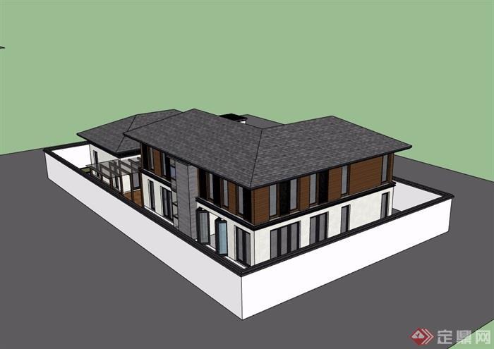 中式两层详细的私人住宅别墅设计su模型图片