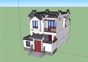 徽派小型别墅多层详细建筑设计SU(草图大师)模型