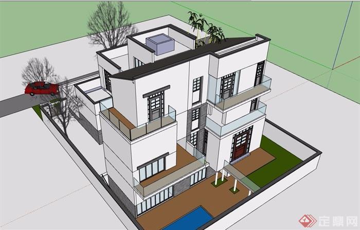 獨棟北入戶中式別墅設計su模型